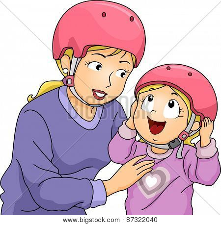 Illustration of a Mother Helping Her Daughter Put Her Helmet On