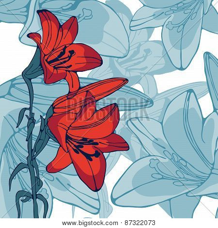 Elegant illustration of lilly flowers