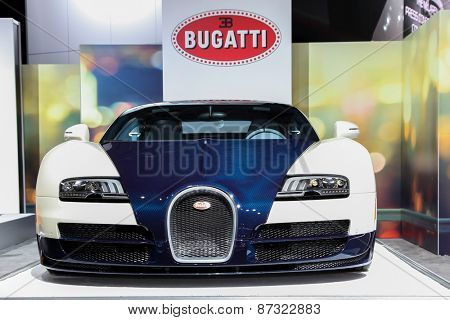 NEW YORK - APRIL 1: Bugatti exhibit at the 2015 New York International Auto Show during Press day,  public show is running from April 3-12, 2015 in New York, NY.