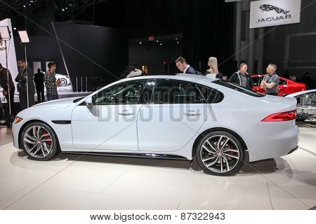 NEW YORK - APRIL 1: Jaguar exhibit Jaguar XF at the 2015 New York International Auto Show during Press day,  public show is running from April 3-12, 2015 in New York, NY.