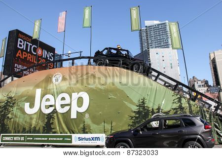 NEW YORK - APRIL 1: Camp Jeep outside Javits Center at the 2015 New York International Auto Show during Press day,  public show is running from April 3-12, 2015 in New York, NY.