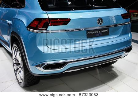 NEW YORK - APRIL 1: Volkswagen exhibit before Volkswagen cross coupe  at the 2015 New York International Auto Show during Press day,  public show is running from April 3-12, 2015 in New York, NY.