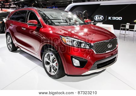 NEW YORK - APRIL 1: KIA exhibit KIA Sorento SX AWD at the 2015 New York International Auto Show during Press day,  public show is running from April 3-12, 2015 in New York, NY.