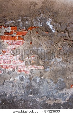 Cracked concrete vintage brick wall background. Texture grunge b