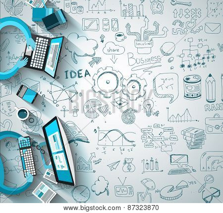 Infographics Teamwork With Business Doodles Sketch Background: Infographics Vector Elements Isolated