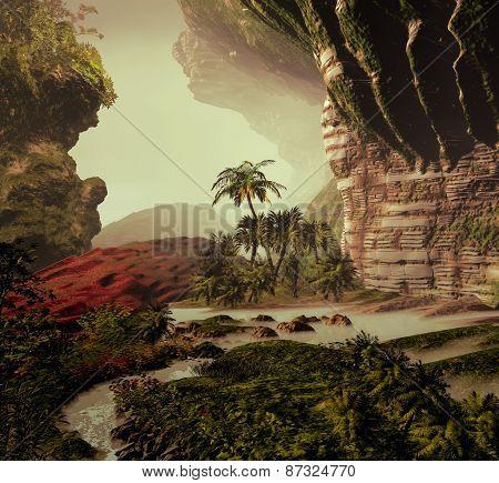 3D illustration of tropical landscape