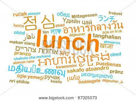 Background concept wordcloud multilanguage international many language illustration of translation lunch meal