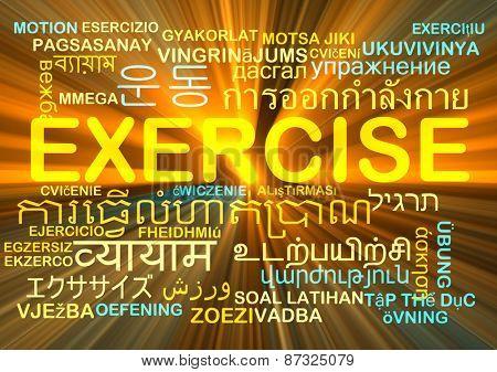 Background concept wordcloud multilanguage international many language illustration of translation exercise glowing light