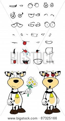 inlove cow cartoon expressions set