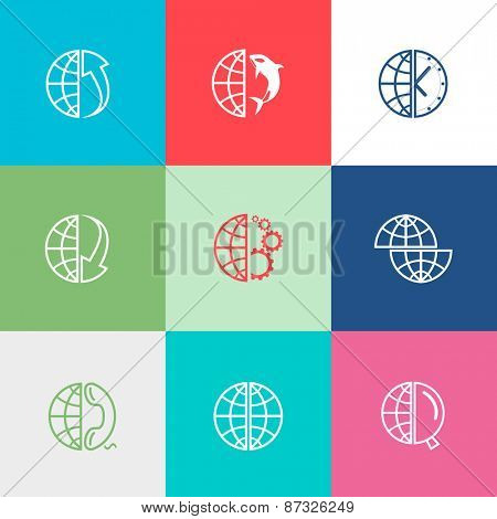 Globe set. Flat color raster icons.