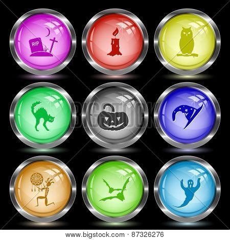 Mystic signs set. Internet button. Raster illustration.