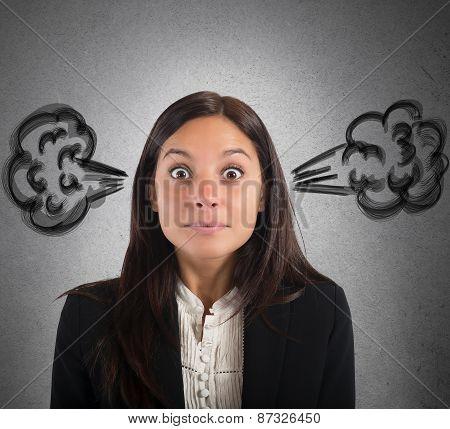 Businesswoman brain in smoke