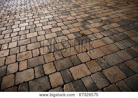 Stone sidewalk angle shot