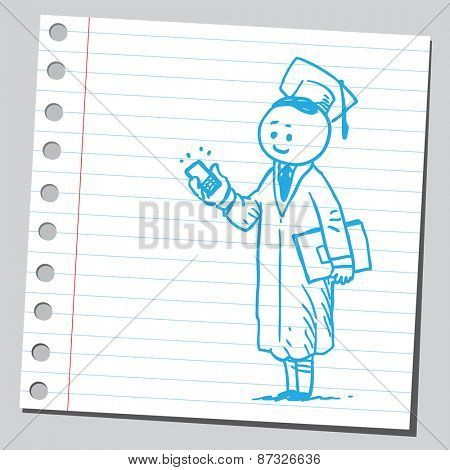 Graduate student with cell phone
