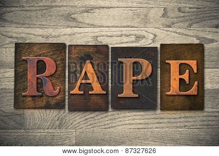 Rape Concept Wooden Letterpress Theme