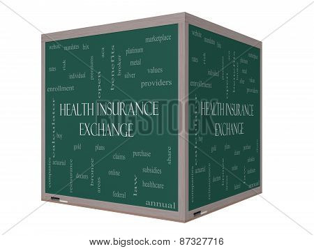 Health Insurance Exchange Word Cloud Concept On A 3D Cube Blackboard