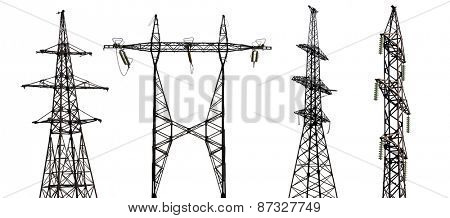 set of electrical steel pylons isolated on white background