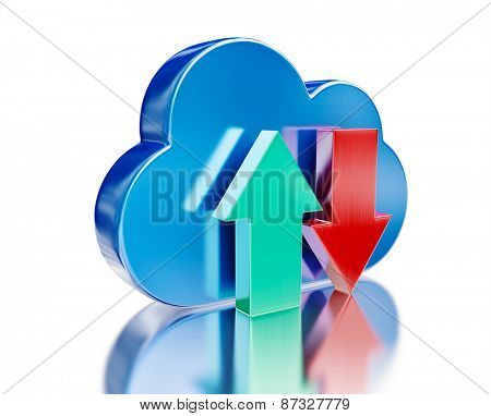 Remote database cloud computing technology storage upload download concept - metal glossy cloud icon and download and upload arrows with reflection on white