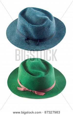 Green Hat And Blue Hat On White