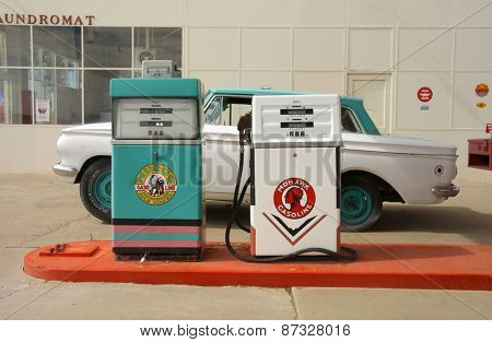 Peach springs,Arizona -July 22: Historic gas station on July 22,2009, Radiator Springs, name is depicted  in the 2006 animated film Cars from Peach springs