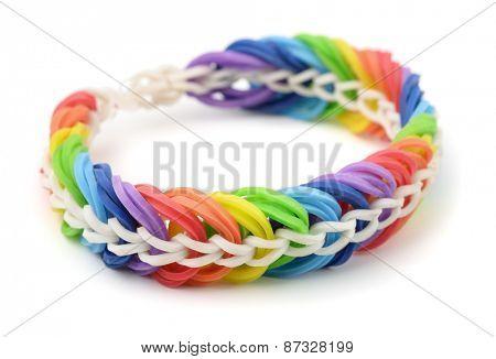 Rainbow rubber band bracelet isolated on white