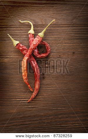 red hot chili pepper on wood background
