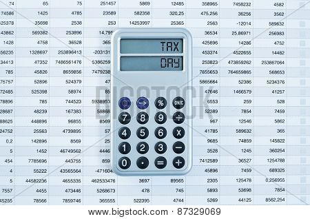 high-angle shot of a calculator with the text tax day in its display on a balance sheet