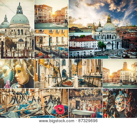 photo collage of beautiful views of Venice