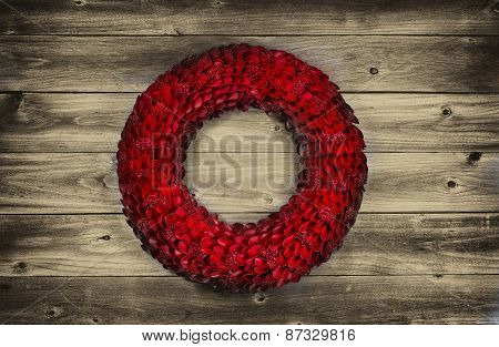 Vintage Red Wooden Petal Holiday Wreath