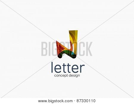 Modern company logo, clean glossy design. Abstract shape made of color overlapping wave pieces