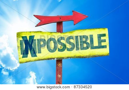 Impossible - Possible sign with sky background