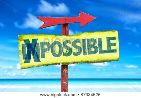 Impossible - Possible sign with beach background