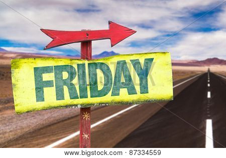 Friday sign with road background