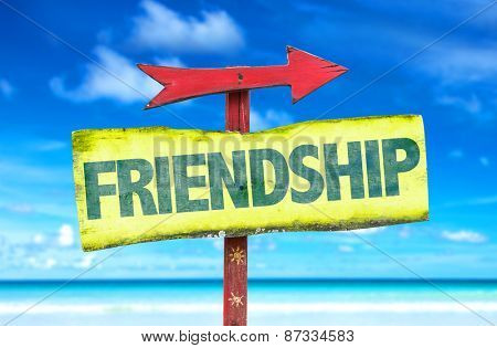 Friendship sign with beach background