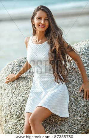 beautiful brunette portrait on beach