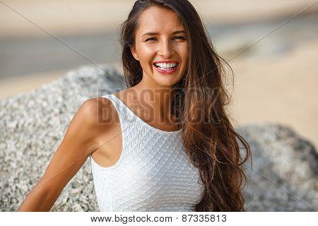 beautiful brunette portrait on beach