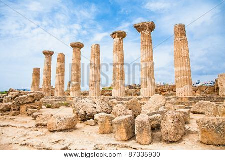 Ercole temple in the Valley of the Temples, Agrigento, Sicily island, Italy.