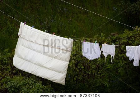 Clean Laundry Hanging To Dry On Line Outdoor