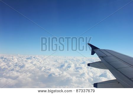Beautiful Sky With Plane Wings