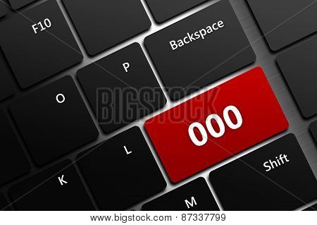 Computer Keyboard With Emergency Number 000