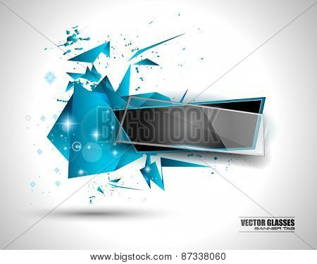 Glass Banner with Abstract Shape and glossy effect with transparent shadows. Idea to use as advertisement panel, infographic background, item showcase and so on