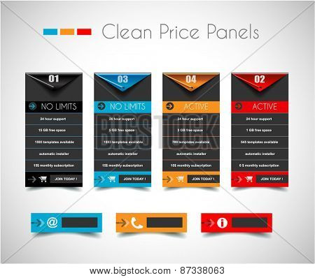 Web Infographic Panel for on line services comparison. Shadows are transparent and made with blends.