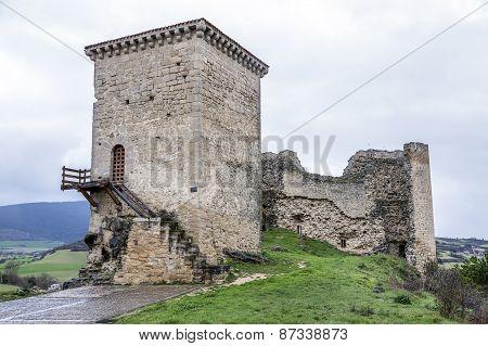 Castle Of Santa Gadea Del Cid With A Dark Sky In Burgos