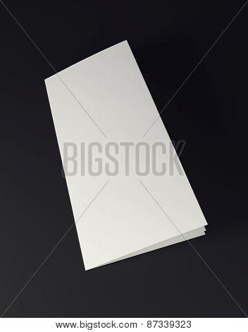 Mock up white folded paper on black background