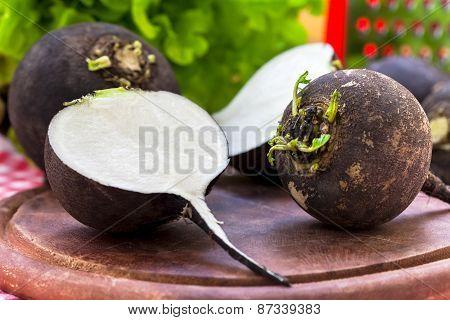 Black radish on wooden board