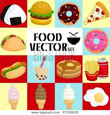 Square Food Vector Set