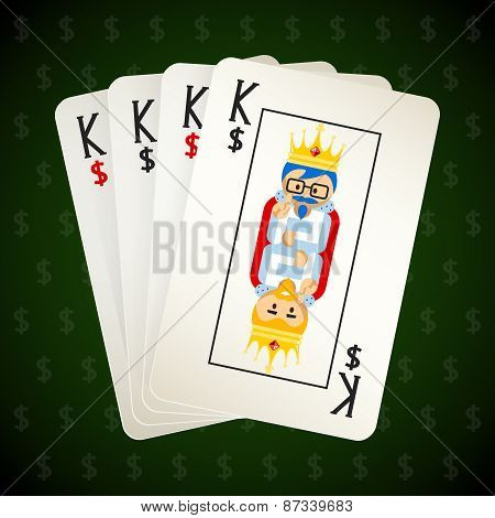Business playing cards. Four kings