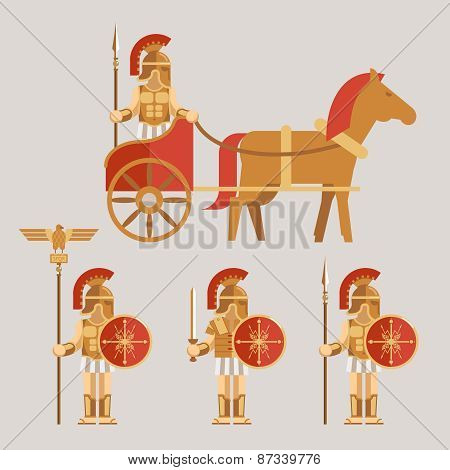 Ancient wariors icons with sword or spear and shield on chariot