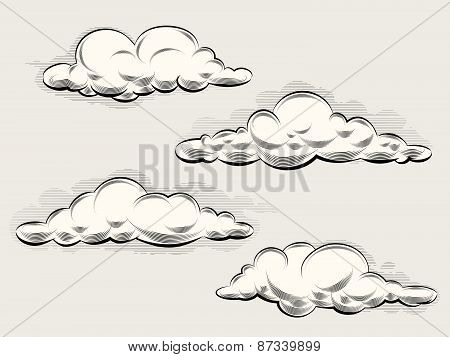 Engraving clouds