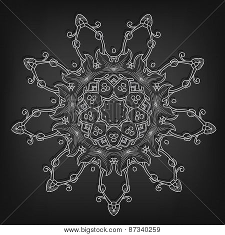 Vector vintage circle pattern in Victorian style. Ornate element